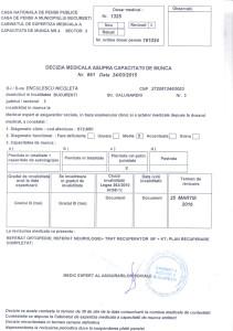 Certificat medical grad de invaliditate, valabil până la 25 martie 2016