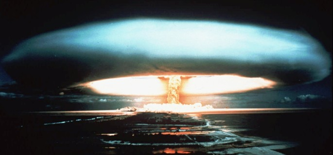 FILE -- A 1971 file photo of a nuclear bomb detonated at the Mururoa atoll, French Polynesia. President Jacques Chirac announced Tuesday June 13, 1995 that France would resume nuclear testing to verify the safety of existing weapons while advancing toward simulation technology. Eight nuclear tests are scheduled between September and May before France signs a treaty banning all tests. (AP Photo)
