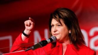 Europarlamentarul Partidului Social Democrat (PSD), Rovana Plumb, tine un discurs la ceremonia de lansare a candidatilor PSD Bucuresti pentru alegerile europarlamentare, in Bucuresti