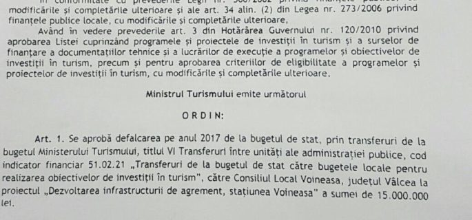 ordin ministerul turismului