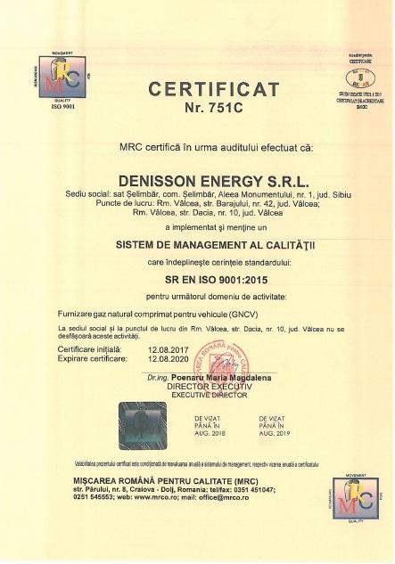 Certificatul 751C sistem ISO 9001 2015 statie CNG Valcea