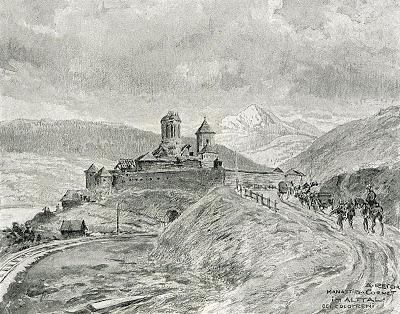 1916_-_Albert_Reich_-_Valcea,_Manastirea_Cornetu,_pe_fundal_muntele_Cozia_p36