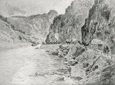 1916_-_Albert_Reich_-_Valea_Oltului,_coloana_germana_la_Calimanesti_p35