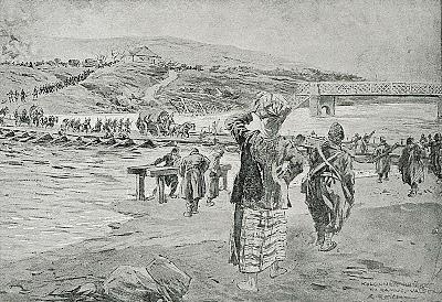 1916_-_Albert_Reich_-_Valea_Oltului,_coloana_germana_trecand_Oltul_la_R_Valcea_p39