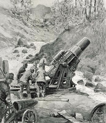 1916_-_Albert_Reich_-_Valea_Oltului,_mortier_german_de_305_mmin_pozitie_la_Titestii_p30
