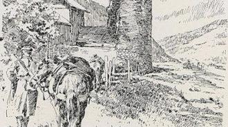 800px-1916_-_Albert_Reich_-_Turnu_Rosu,_ruinele_turnului_din_trecatoare_p18