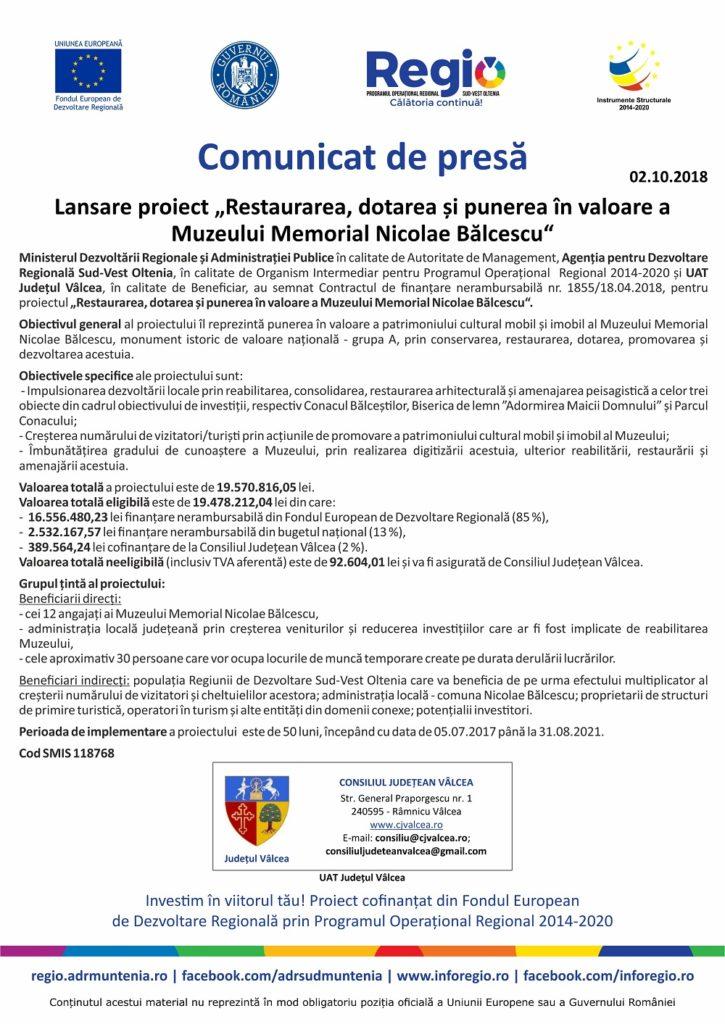 CJ Valcea - comunicat