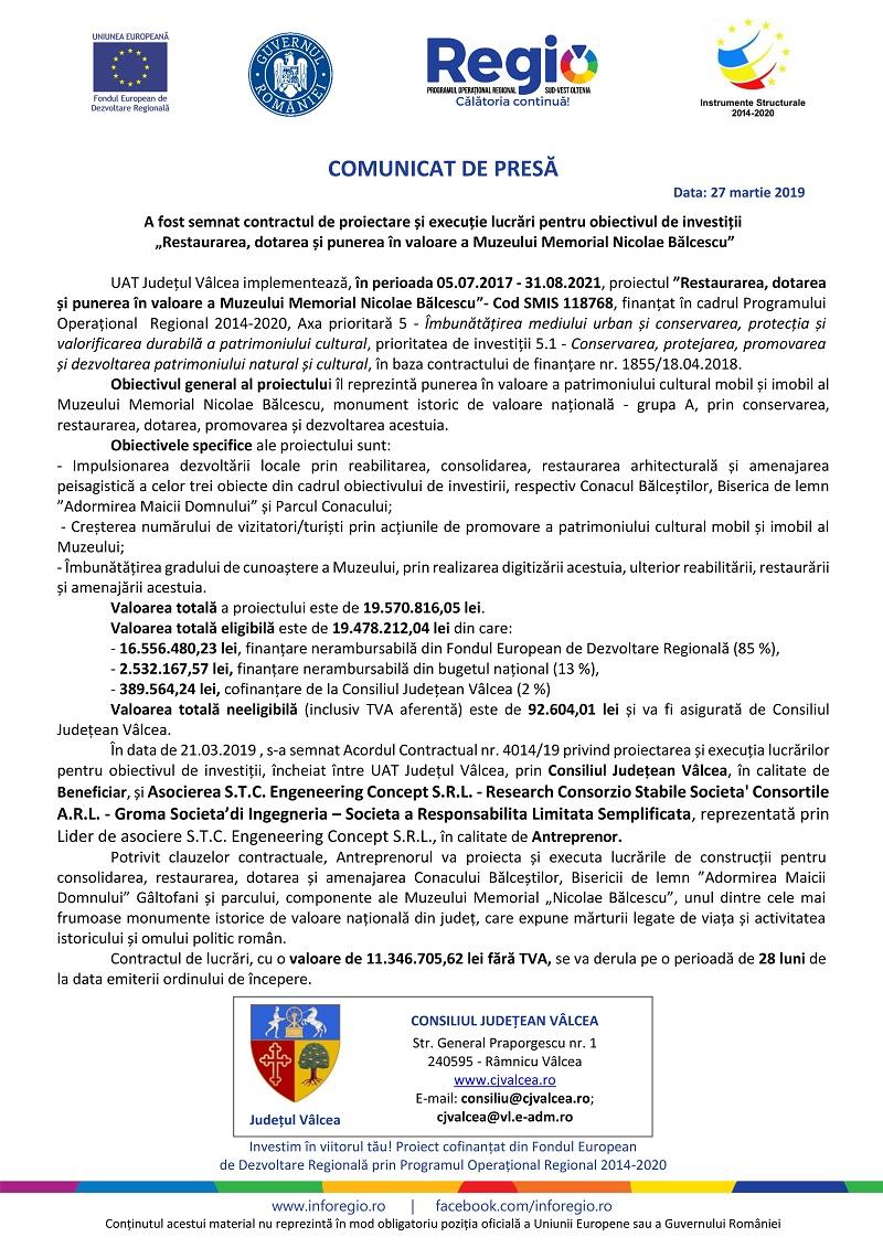 CJ Valcea - comunicat (27.03.2019, 28.03.2019 si 29.03.2019)