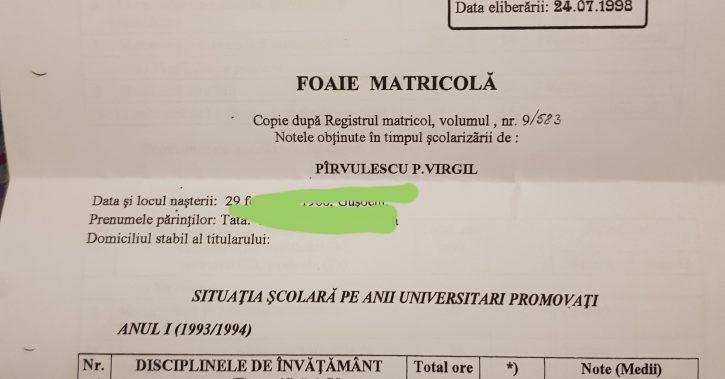 Documente INCENDIARE! Virgil Pirvulescu, viceprimarul liberal de la Ramnicu Valcea, este un IMPOSTOR! CV falsificat!
