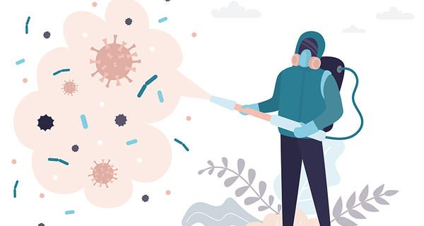 Man in a protective suit processes the territory from viruses and germs. Human stops spread of virus and disease. Staff in uniform. Health care concept. Global epidemic or pandemic. Vector illustration