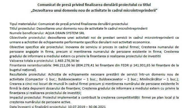 """Comunicat de presă privind finalizarea derulării proiectului cu titlul """"Dezvoltarea unui domeniu nou de activitate în cadrul microîntreprinderii"""""""