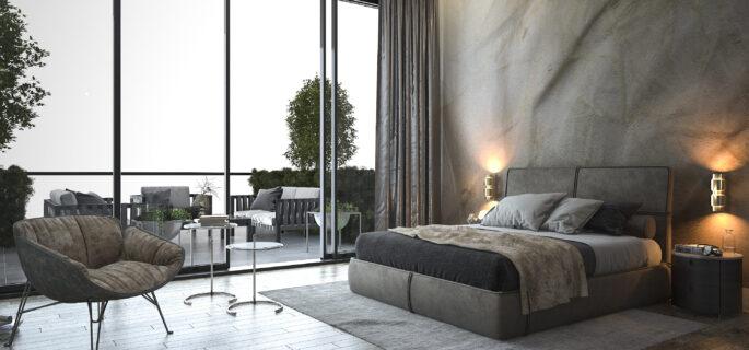 3d-rendering-loft-modern-bedroom-near-window-view